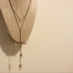 Crystal layered brass necklaces
